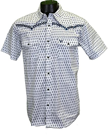 c490503f896 Cowboy Hardware Men s Diamond Short Sleeve Western Snap Shirt White Small