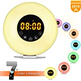 Wake Up Light Alarm Clock, Sunrise Alarm Clock with Light Touch Control 7 Light Clock with FM Radio, 6 Natural Sounds, Sunrise and Sunset Simulation with Snooze Function for Bedside Bedroom