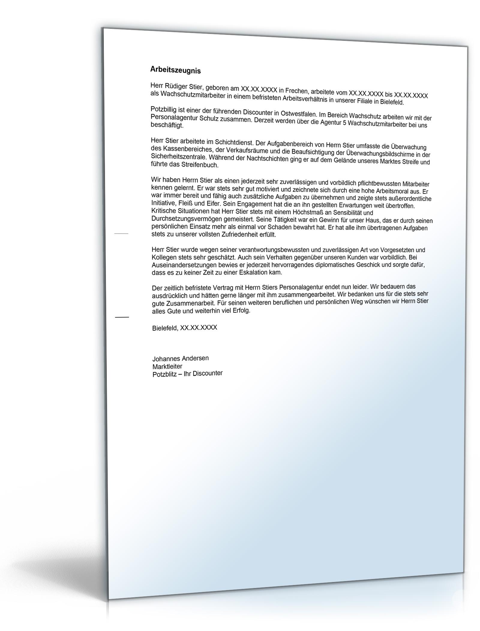 Arbeitszeugnis Wachpersonal Note Eins Word Dokument Amazonde