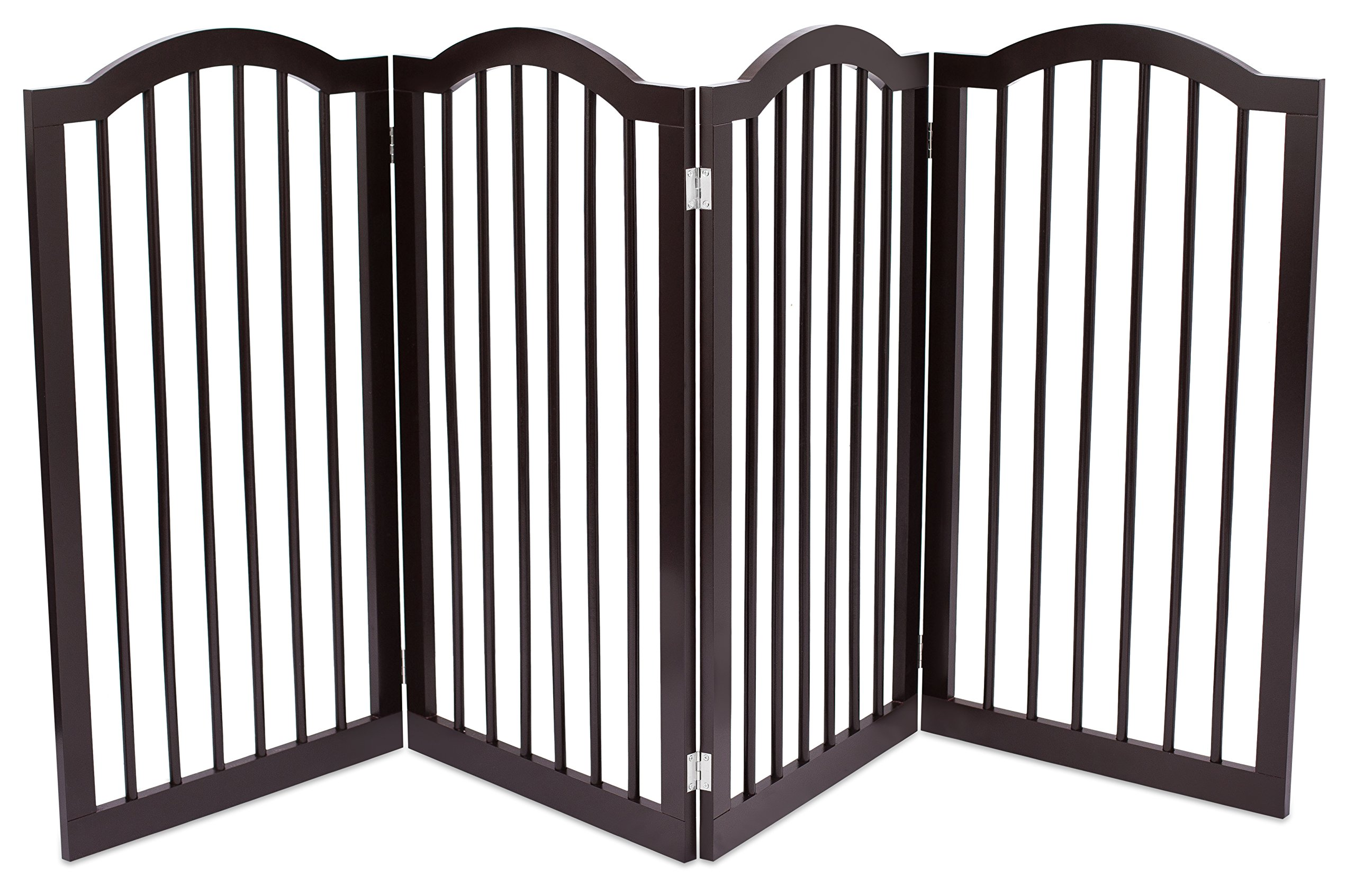 Internet's Best Pet Gate with Arched Top - 4 Panel - 36 Inch Tall Fence - Free Standing Folding Z Shape Indoor Doorway Hall Stairs Dog Puppy Gate - Fully Assembled - Espresso - MDF by Internet's Best