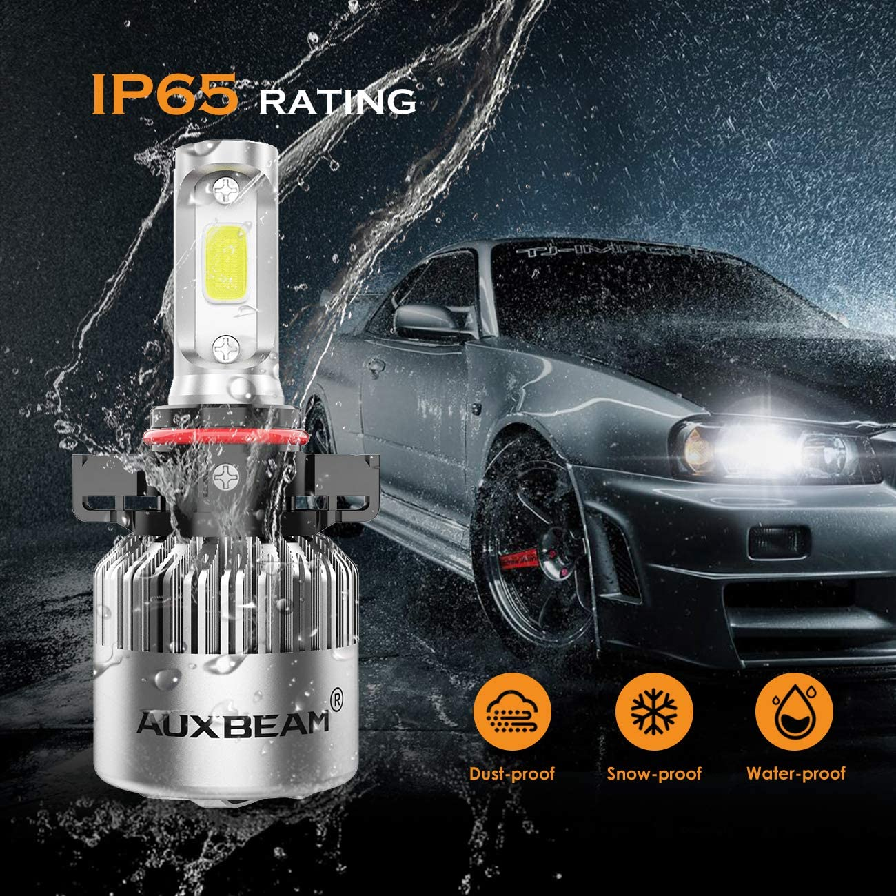 Auxbeam LED Headlights F-S2 Series 5202 LED Headlight Bulbs with 2 Pcs of Led Headlight Bulb Conversion Kits 72W 8000LM COB Led Chips Fog Light