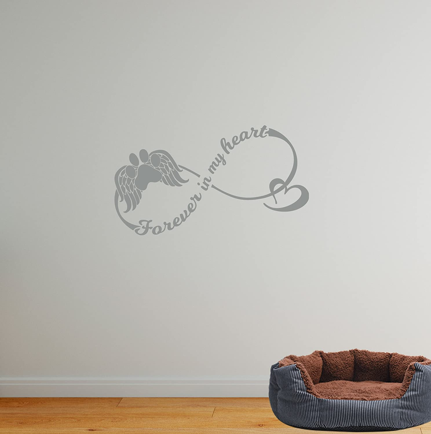 Amazon com 24x13 dog memorial passing forever in my heart funeral angel paw infinity love heart in memory of wall decal sticker art mural home decor