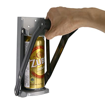 Aynoo 16 oz Cans Crusher wall mounted Soda Beer Can bottle Crusher  Opener/Easy Pull Large Metal Auto Dispensing Soda Beer Smasher(16oz Grey)