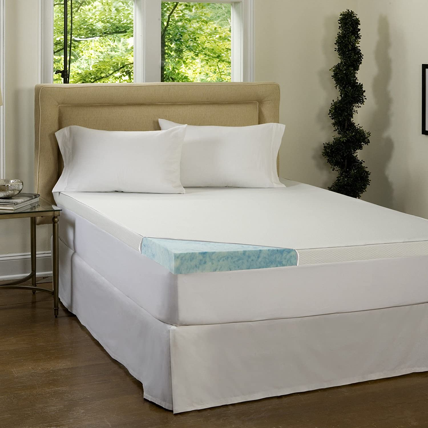 Amazon.com: Beautyrest 3-inch Gel Memory Foam Mattress Topper amp;  Waterproof Cover - Queen - Deluxe Mattress Pad For Luxury Bedding.