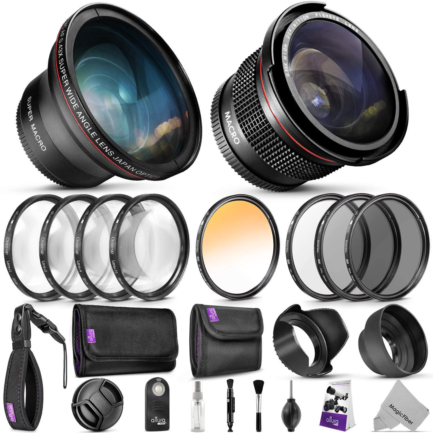 58mm Altura Photo Professional Accessory Kit for Canon EOS Rebel DSLR - Bundle with Wide Angle & Fisheye Lens, Filters Kit (Macro Close-Up Set, UV, CPL, ND4, Color) Remote Control & More by Goja