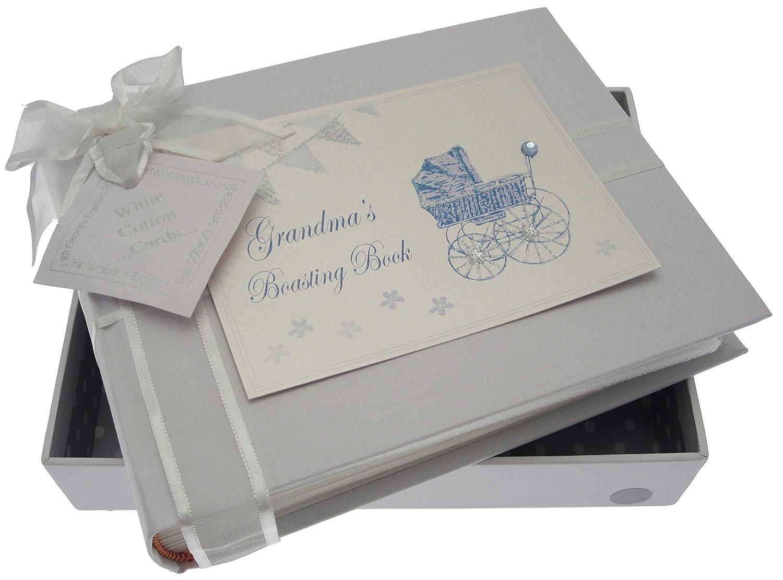 White Cotton Cards Grandma 's Boasting Book–Álbum de pequeñas (azul Pram y Bunting) PRB3S