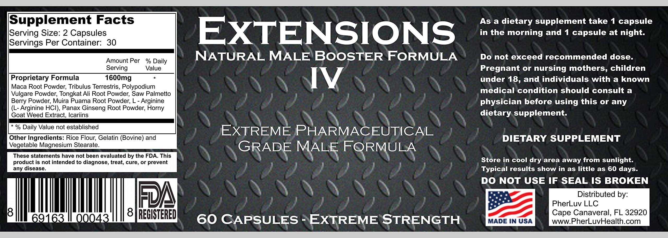 Extensions IV™ Testosterone Enlargement Booster Increases Energy, Mood & Endurance - All Natural Performance Supplement for Men