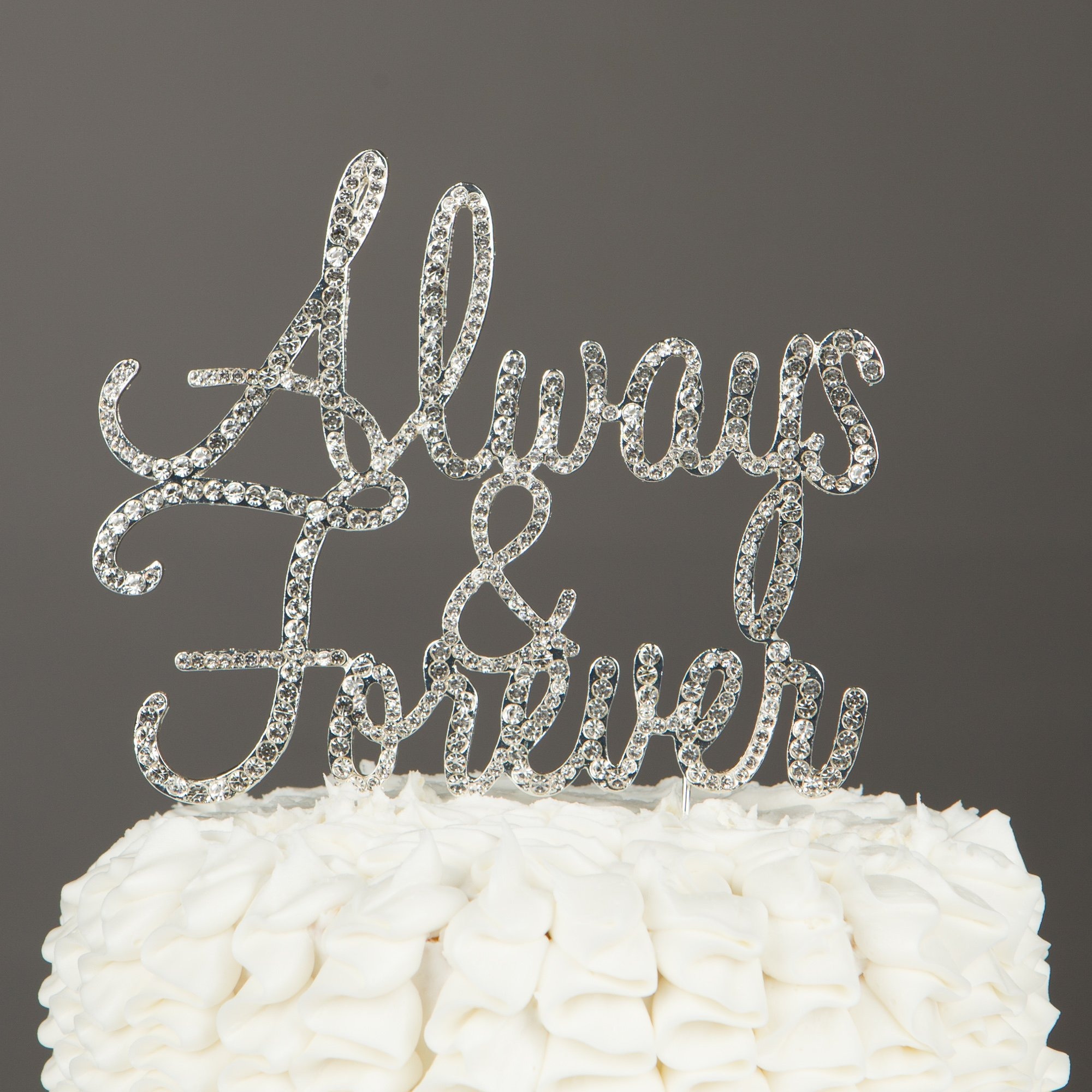Ella Celebration Always and Forever Wedding Cake Topper, Silver Romantic Rhinestone Decoration (Always & Forever) (Silver) by Ella Celebration (Image #5)