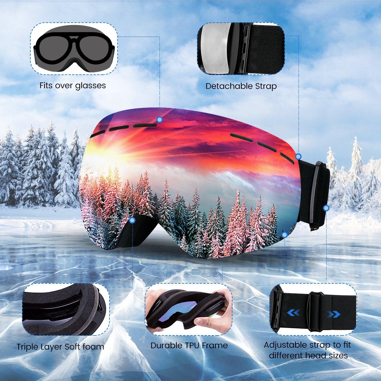 Mpow Masque de Ski Lunettes de Ski Femme et Homme Masque Snowboard Double  Grande Lentille OTG ff0a666b1140