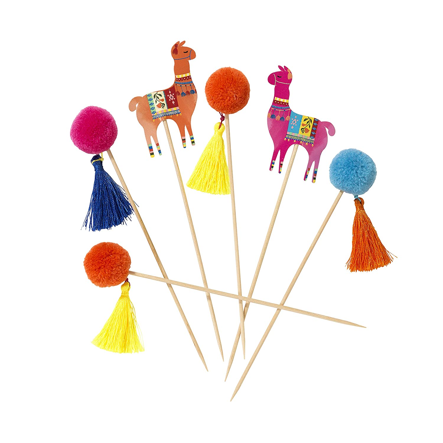 Talking Tables Boho 24 Pack Multi-Color Llama Pom Picks