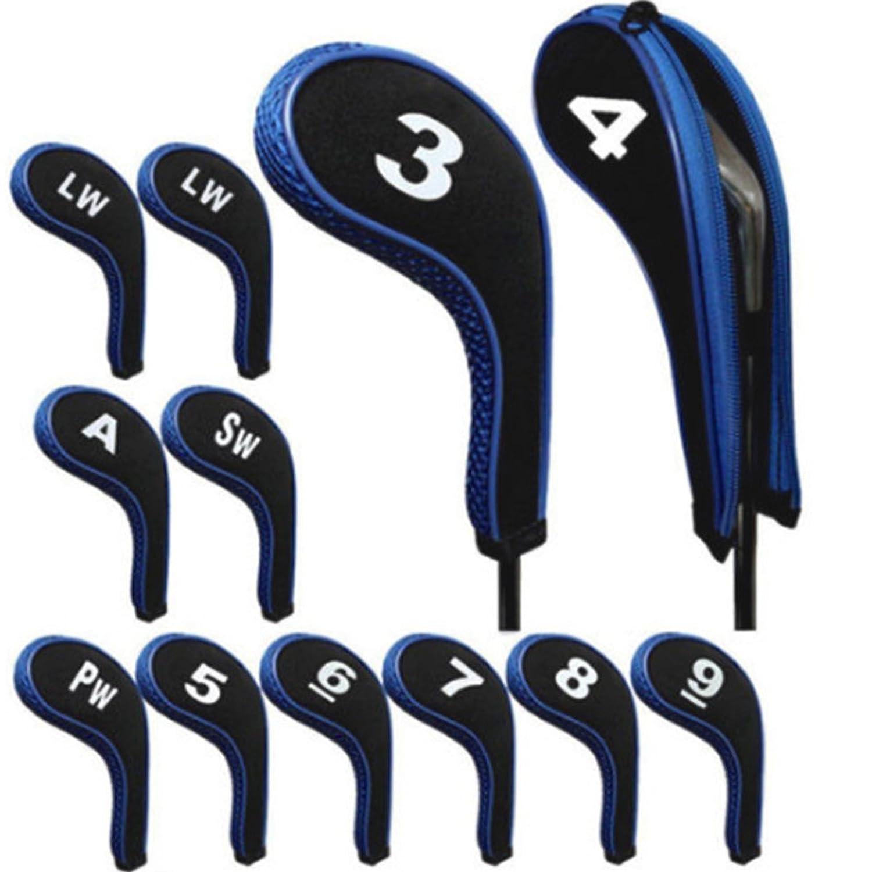 12pcsゴムネオプレンゴルフヘッドカバーゴルフクラブアイアンパター保護セット番号プリントファスナー付きロングネック  ブルー B07DQ53N95