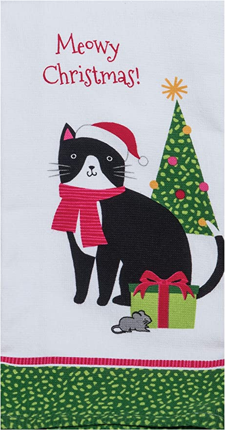 Meowy Cat Christmas Kitchen Towel