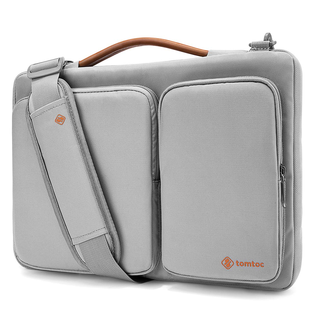 tomtoc Original 14 inch Laptop Shoulder Bag CornerArmor Patent, 360° Protective Laptop Sleeve 14 inch Lenovo ThinkPad | Acer HP Chromebook | 15 MacBook Pro Touch Bar 2017 (A1707), Light Gray