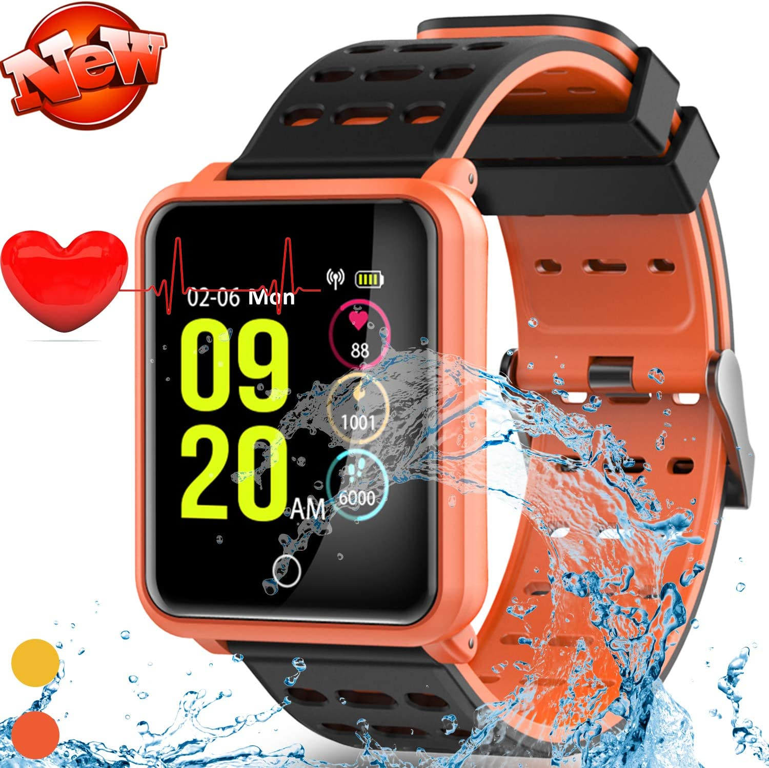 New Version Smart Watch Fitness Tracker 1.3 HD Screen IP68 Waterproof Wrist Watch with Heart Rate Sleep Monitor Activity Health Watch for Men Women Holiday Birthday Gift Pedometer Calorie Sport Watch