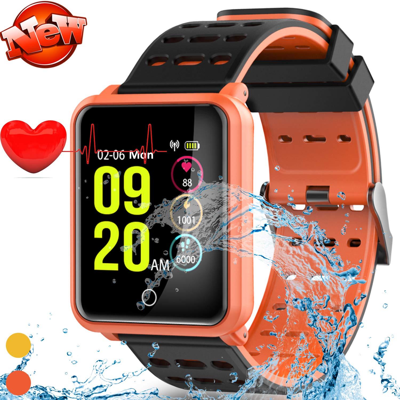 Rightby New Smart Watch Fitness Tracker for Men Women (Orange) by Rightby
