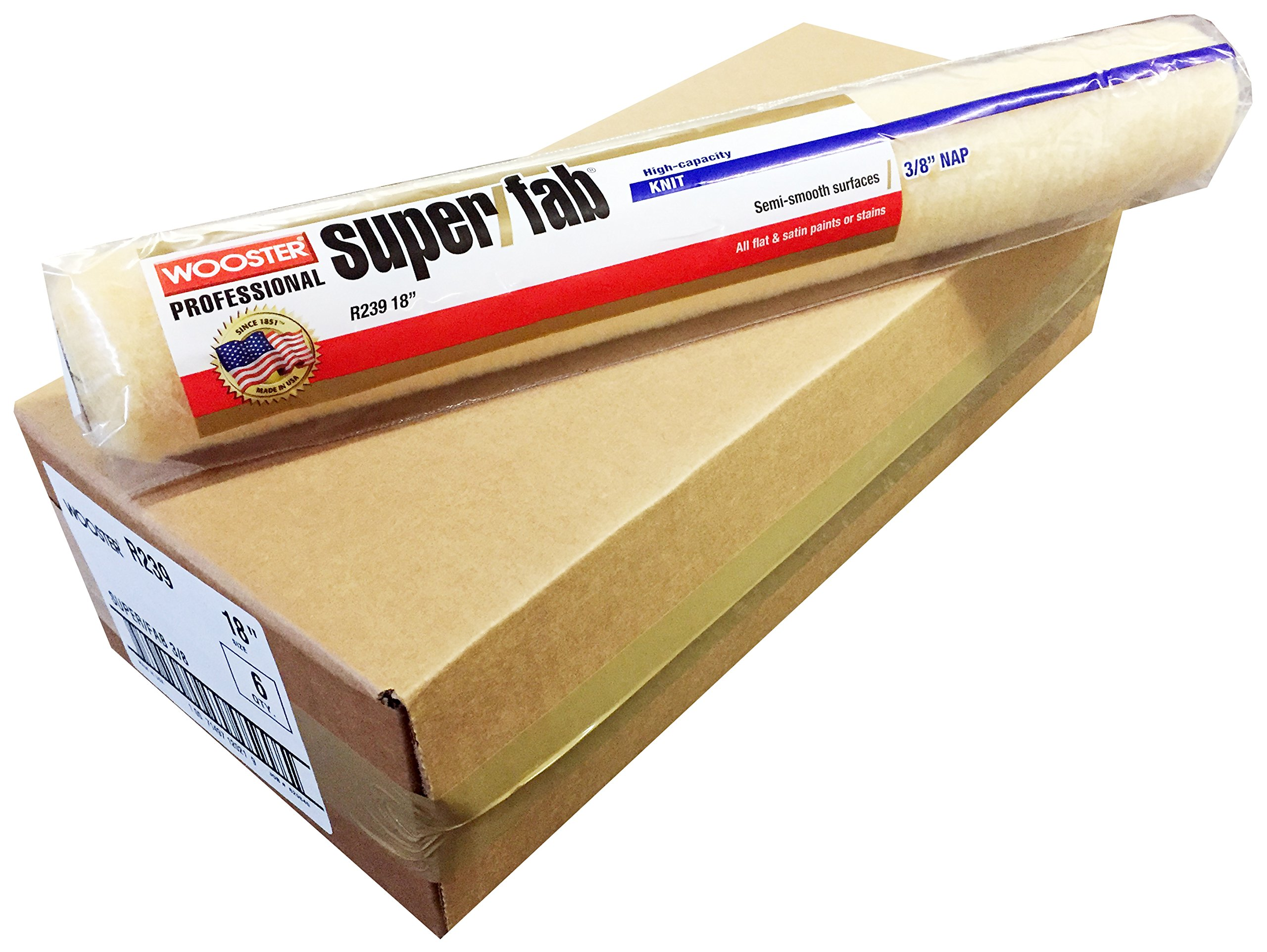 Wooster Brush R239-18 Super/Fab 3/8'' Nap Roller Cover - Pack of 6
