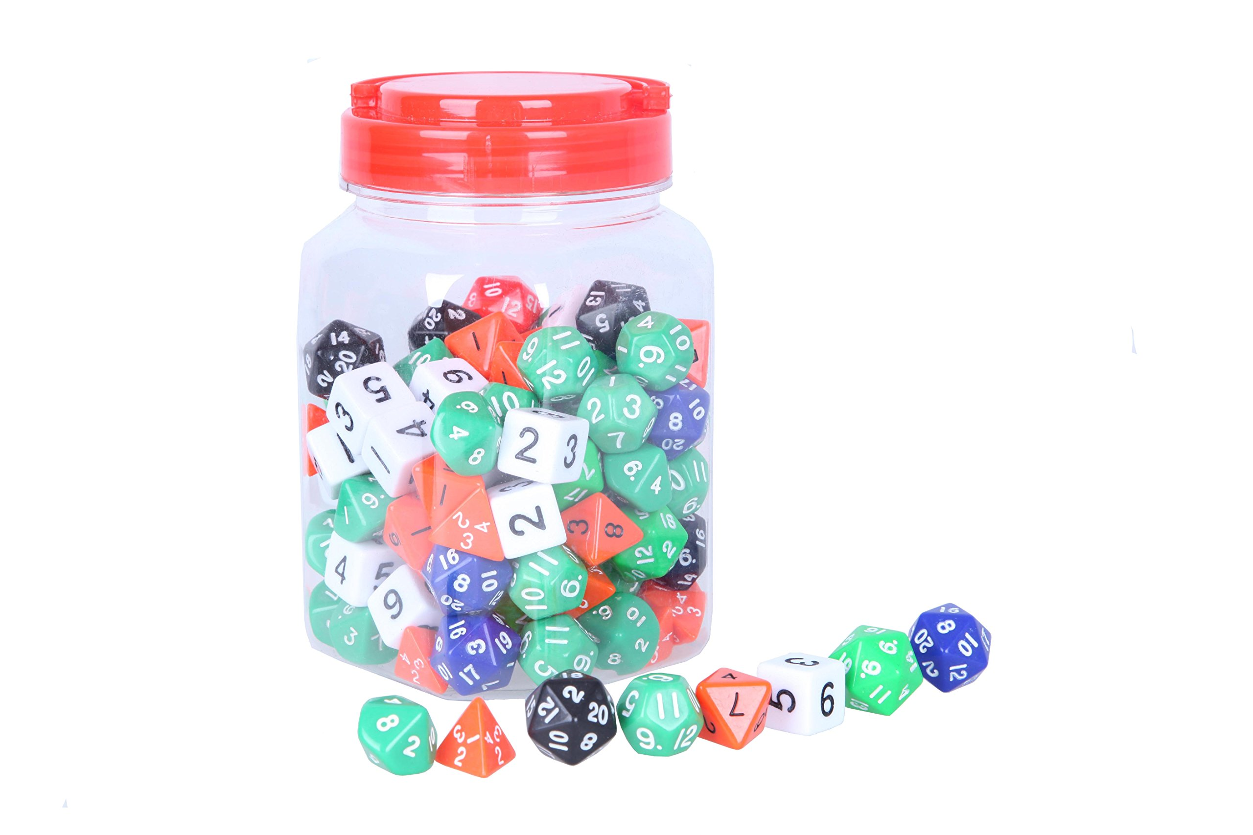 Polyhedral Dice Set - Assorted Colors - 4 Sided, 6 Sided, 8 Sided, 10 Sided, 12 Sided, and 20 Sided Included with Jar and Velvet Bag - 120 Count