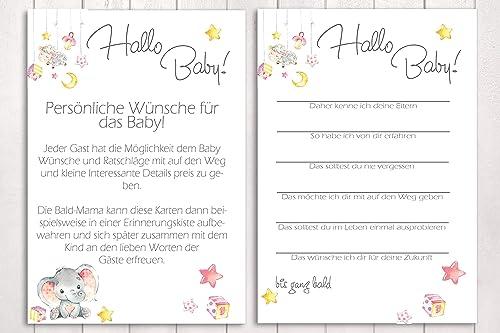 kleiner Engel Babyparty Spiel in Rosa 10 Karten Hallo