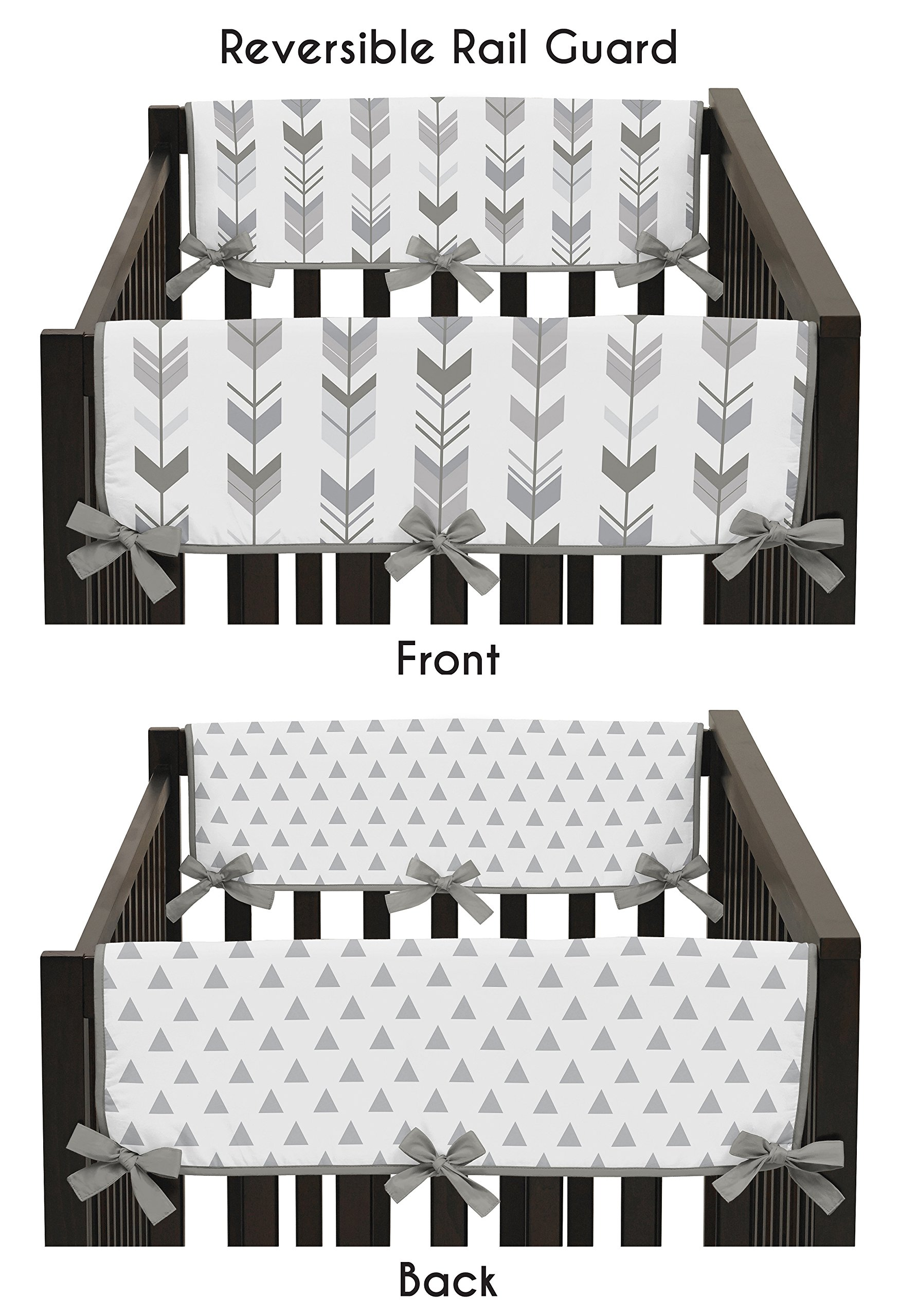 Sweet Jojo Designs 2-Piece Grey Side Crib Rail Guards Baby Teething Cover Protector Wrap for Woodland Arrow Collection by by Sweet Jojo Designs