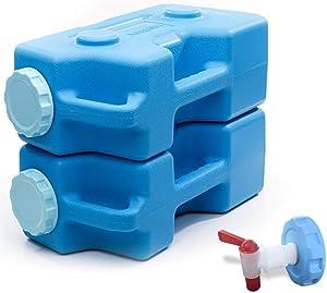 AquaBrick Emergency Water Storage Containers w Ventless Spigot Cap, Portable Stackable Water Storage Containers 3Gal, Long Term Food Storage Containers 20lbs, Outdoor Beverage Dispenser, 2 PK + Spigot