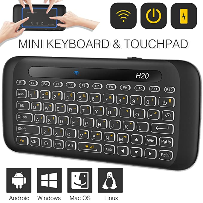 Mini Wireless Keyboard TNAIVE Mouse Combo, Adjustable Backlit Full Panel Touchpad Rechargeable Remote Control for