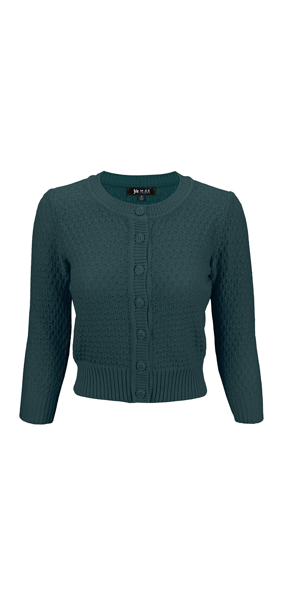 Women's / Sleeve Crewneck Cropped Button Down Knit