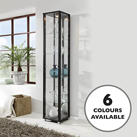 Black Single Door Glass Display Cabinet With Mirror Back 4 Moveable