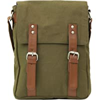 Balachia Premium Canvas & Leather Sling Travel Messenger Bag with Multiple Pockets