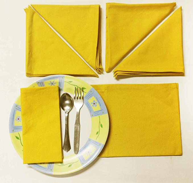 R home Yellow Cotton Table Napkin - Set of 6 Pieces Table Napkins at amazon