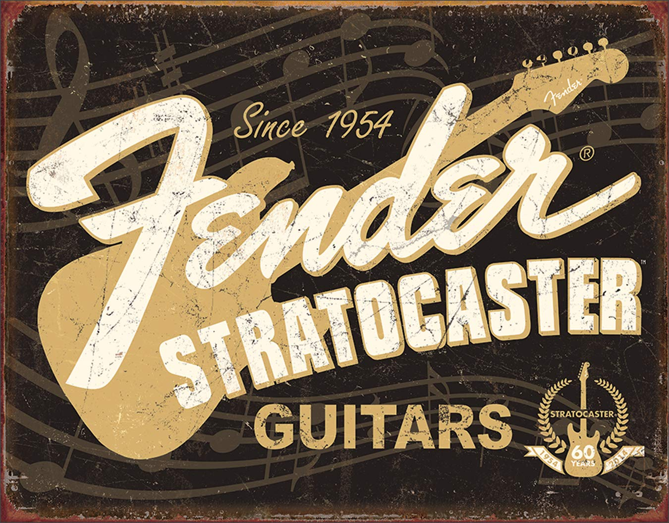 Desperate Enterprises Fender Stratocaster 60th Tin Sign Flat New 31X40cm S4265