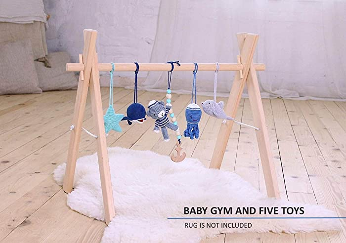 Amazon.com: nautical baby play gym with 5 mobiles. baby gym wood