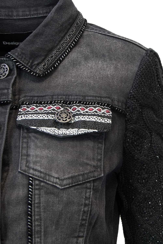 Desigual Black Panther Damen Jeans Jacke schwarz