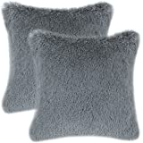 Pack of 2 CaliTime Super Soft Throw Pillow Covers Cases for Couch Sofa Bed, Solid Plush Faux Fur 18 X 18 Inches, Grey