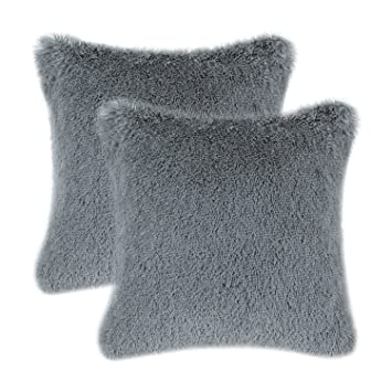 Review CaliTime Pack of 2 Super Soft Throw Pillow Covers Cases for Couch Sofa Bed Solid Plush Faux Fur 18 X 18 Inches Grey
