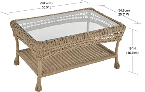 W Unlimited Saturn Collection Outdoor Garden Patio Coffee Table, Light Brown