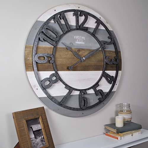 FirsTime Co. Shabby Planks Wall Clock