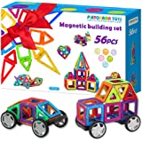 Magnetic Blocks Set for Kids, Toddlers, Boys & Girls - 56 BPA Free Big Colorful Tiles with Strong Magnets - Educational STEM 3D Building Magnet Toy for Creative Learning, Construction, Fun & Play