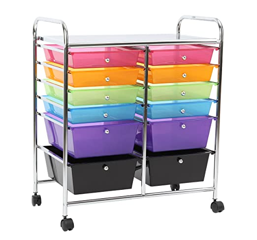 Amazon.com : Finnhomy 12 Drawer Plastic Portable Mobile Organizer Rainbow,  Multi Purpose Utility Double Rolling Storage Cart, Bright Chrome Metal  Frame And ...
