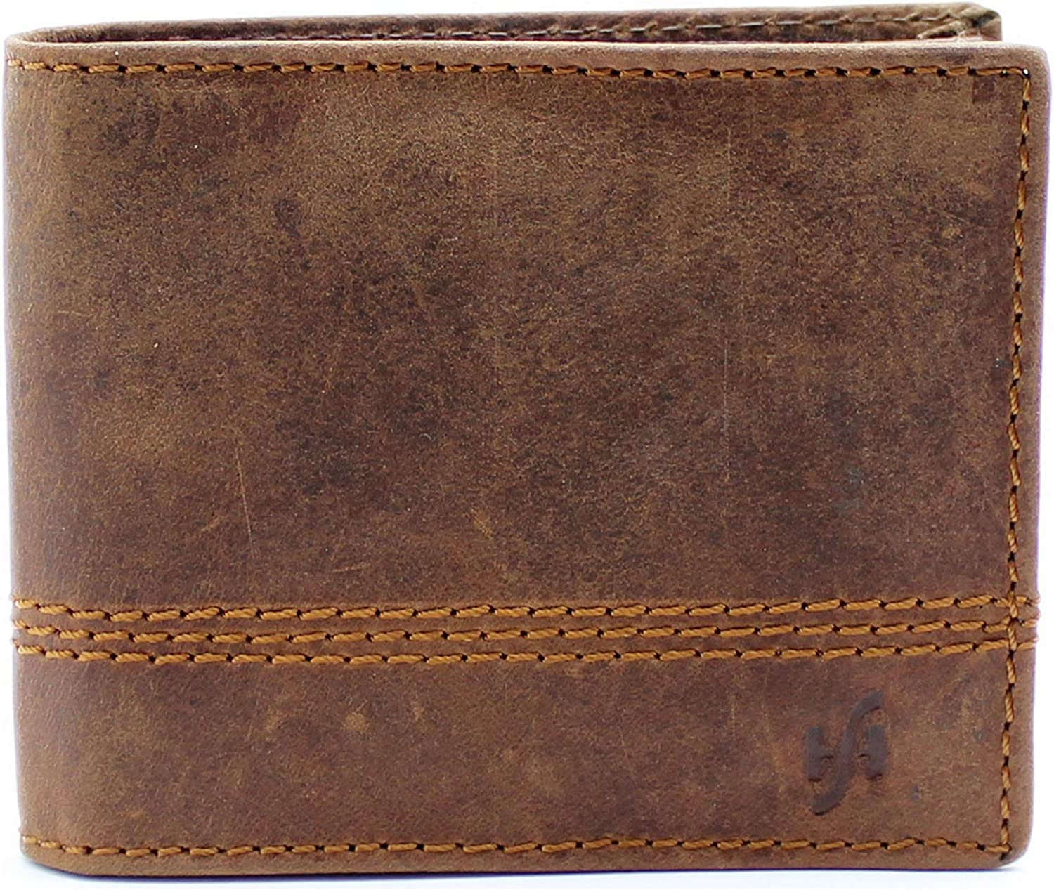 Brown Starhide RFID BLOCKING Wallet For Men Full Length Zipped Pocket Designed For Photo ID Size: 11.5cm x 2cm Genuine Distressed Hunter Leather Width 1150 x 9.5cm Credit Cards And Cash Length Height
