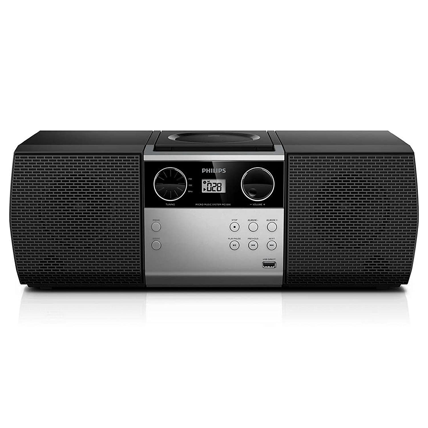 Philips Portable Micro Hi-Fi Music Sound System, CD Player, MP3-CD, CD and CD-R/RW, Dynamic Mega Bass Stereo Boost Speaker, USB Direct Input, and FM Radio, Compact Design,