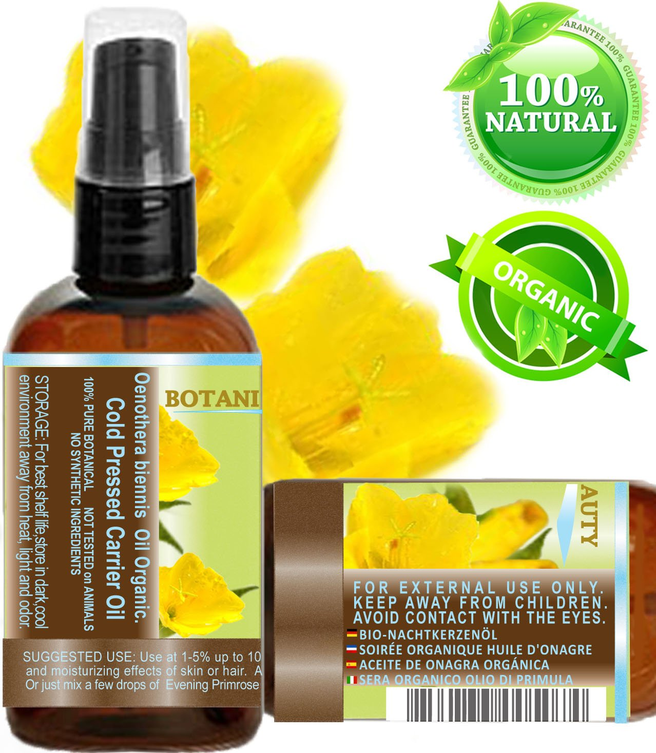 Organic Evening Primrose Oil. 100% Pure / Natural / Undiluted ...