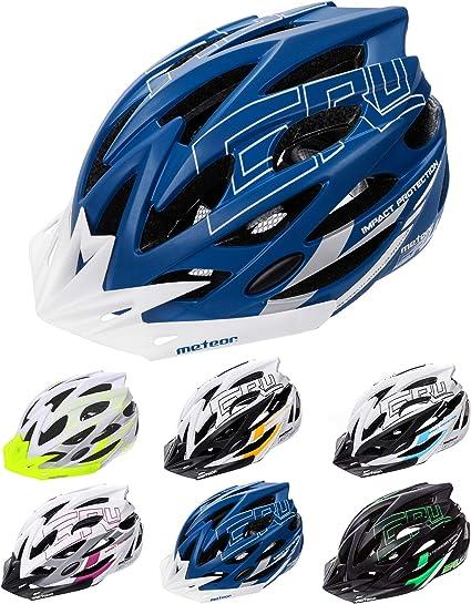 meteor Cascos Casco Bicicleta Casco Helmet Casco Bici Casco Bicicleta Adulto Skate Ciclismo Bicicleta Patineta Patines Monopatines Bici Accesorios Casco Gruver (S (52-56 cm), Azul/Blanco): Amazon.es: Deportes y aire libre