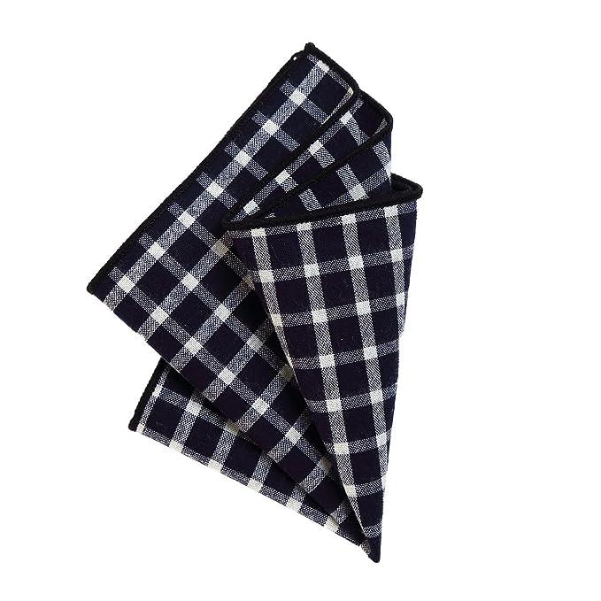 DonDon Pañuelos de bolsillo algodón a cuadros para hombre de ...