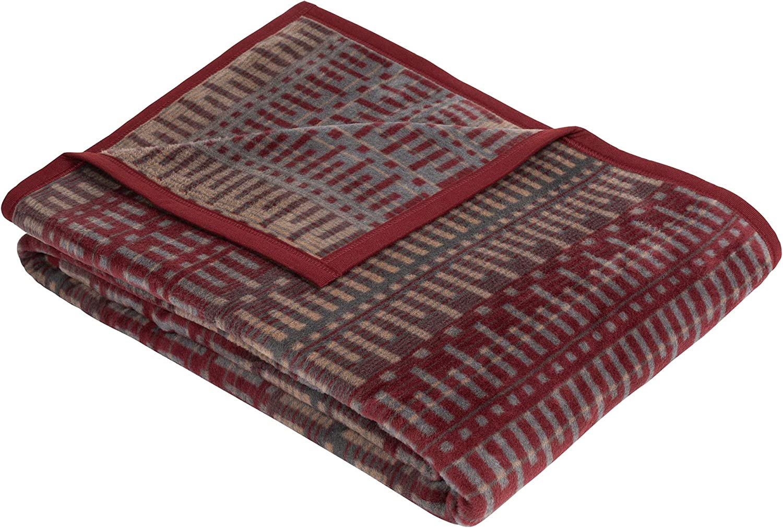 IBENA Jacquard Woven Burgundy// Grey Throw Blanket Tila