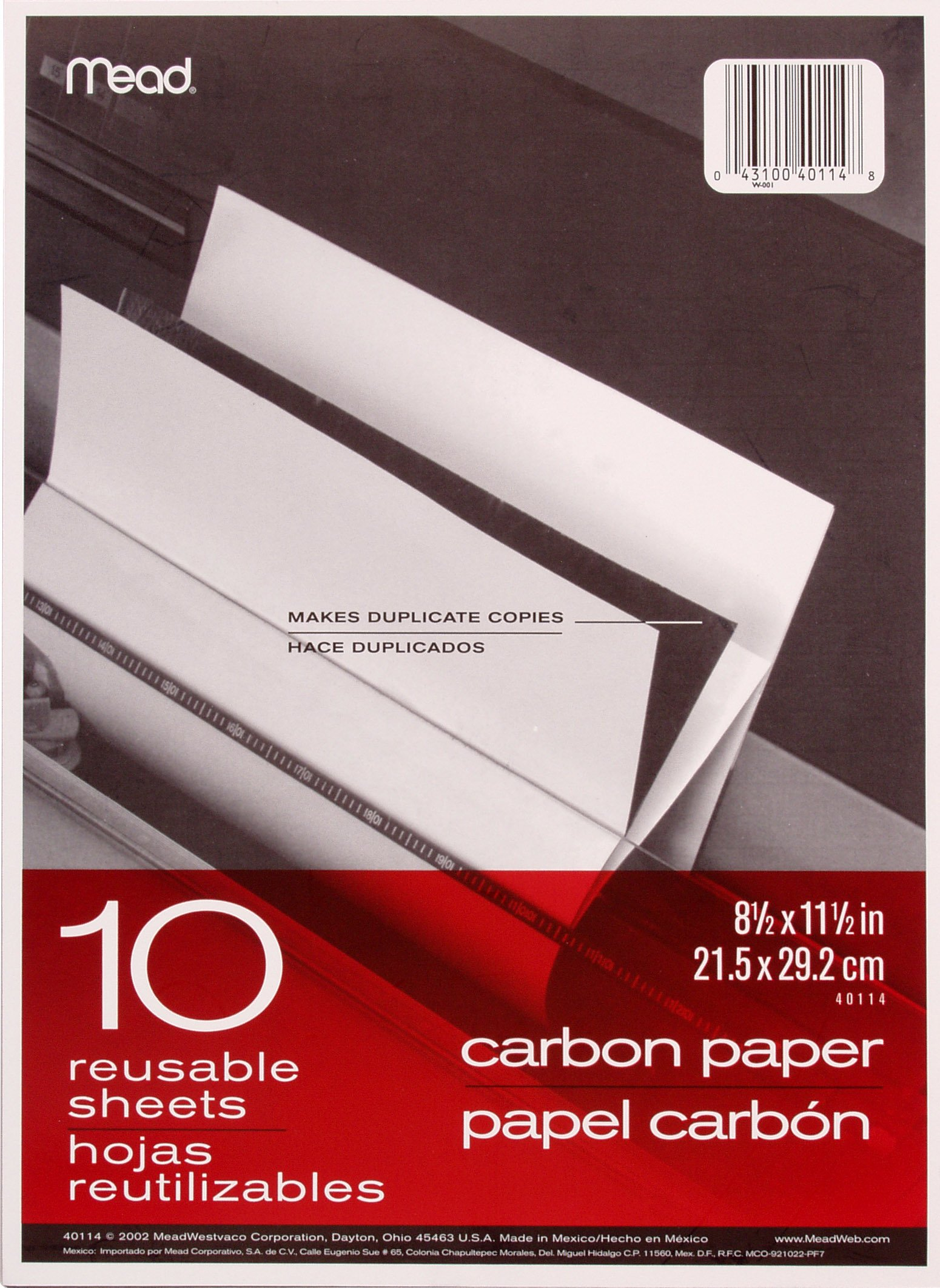 Mead Carbon Paper, 11.5 x 8.5 Inches, Set of 12 Folders (10 Sheets per Folder) (40001) by Mead