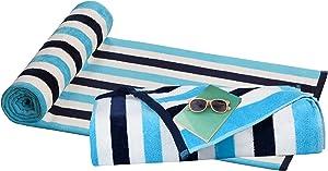 GLAMBURG Luxurious 2 Pack Velour Cabana Stripe Beach Towel 32x63, 100% Cotton, Multi Color Stripe Beach Bath Pool Towel, Beach Blanket, Soft & Highly Absorbent, Large Beach Towel, Navy Aqua White