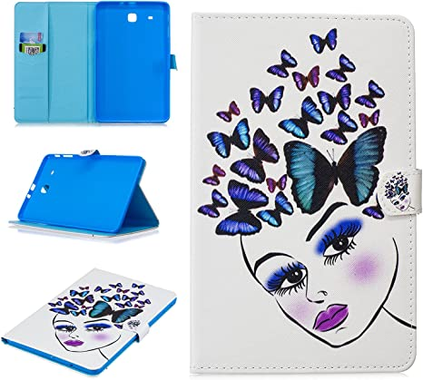 Shinyzone Case Cover for Samsung Galaxy Tab E 9.6 inch T560,Slim PU Leather Smart Cover with Auto Sleep and Wake,Magnetic Foldable Stand Wallet Case with Card Holder,Lion