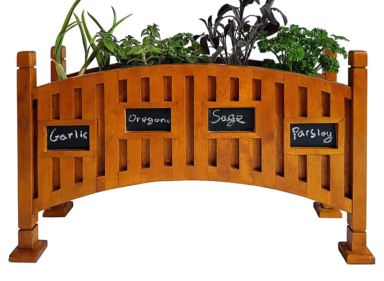 Solid Birch Wood Kitchen Herb Garden Indoor Planter Box with Chalkboard - Perfect for Windowsill by NaturaGarden