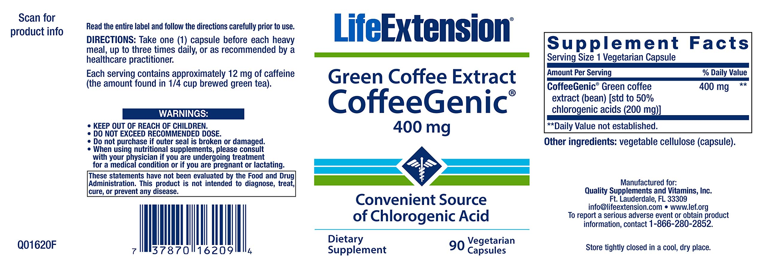 CoffeeGenic Green Coffee Extract 400 mg - 90 - VegCap by Life Extension (Image #2)