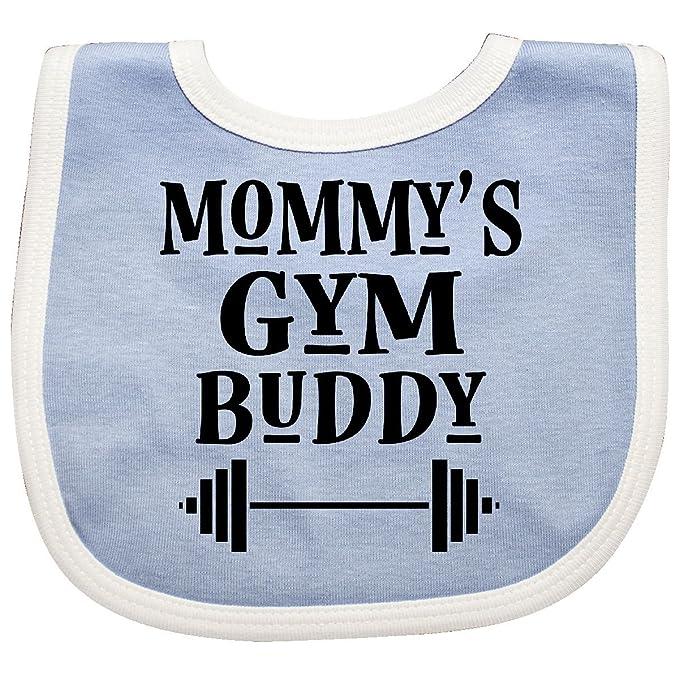 1680d76b4 Amazon.com  Inktastic - Mommy Gym Buddy Workout Baby Bib Blue White ...